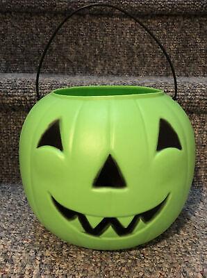 Vintage Green Halloween Pumpkin Blow Mold Candy Bucket General Foam Plastics