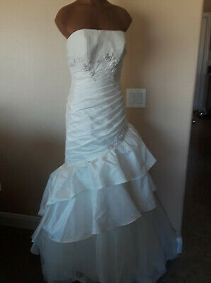 Crystal Couture Wedding Bridal Dress Size 10 Asymmetrical Layered Beaded Floral Asymmetrical Bridal Wedding Dress