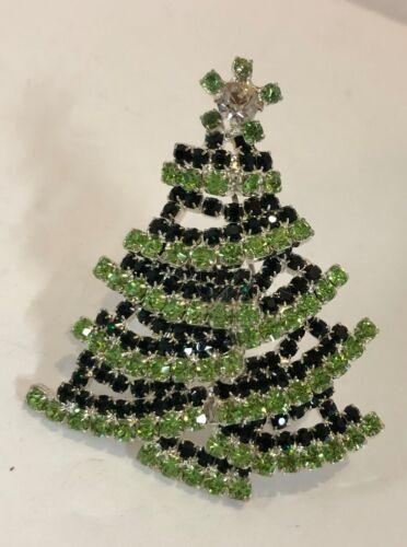 Vintage Rhinestone Christmas Tree Brooch Pin Layered Dark Light Green