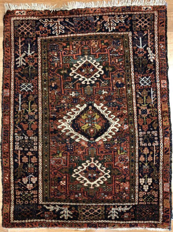 Handsome Heriz - 1930s Antique Karaja Rug - Persian Tribal Carpet - 3.4 X 4.4 Ft