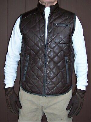 $395 Daniel Cremieux Brown Lamb Skin Leather Vest / Jacket Sz -