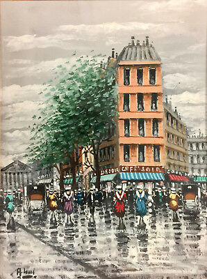 (European French Street Scene Watercolor Painting Home Decor Signed 03507)