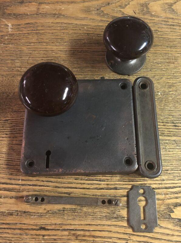 Large Heavy Antique Colonial Revival Cast Iron Rim Lock & Black Doorknobs