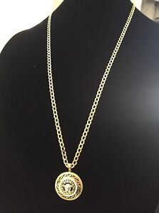 "30"" 5MM 10K Italian Gold Curb Chain + Versace Style Pendant"