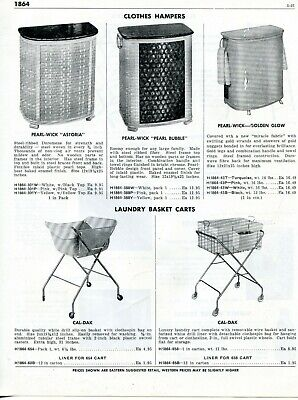 1958 Print Ad of Pearl-Wick Clothes Hamper Astoria, Pearl Bubble, Cal-Dak Carts