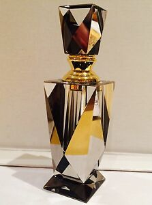 Perfume Bottle Glass Crystal Cut Grey Smoke Mirror Gold Art Deco Gift Boxed AU