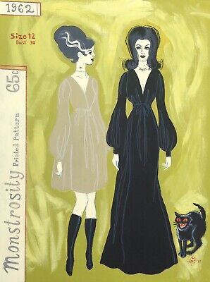 EL GATO GOMEZ PRINT VINTAGE SEWING PATTERN HALLOWEEN BRIDE FRANKENSTEIN VAMPIRE - Mat Halloween