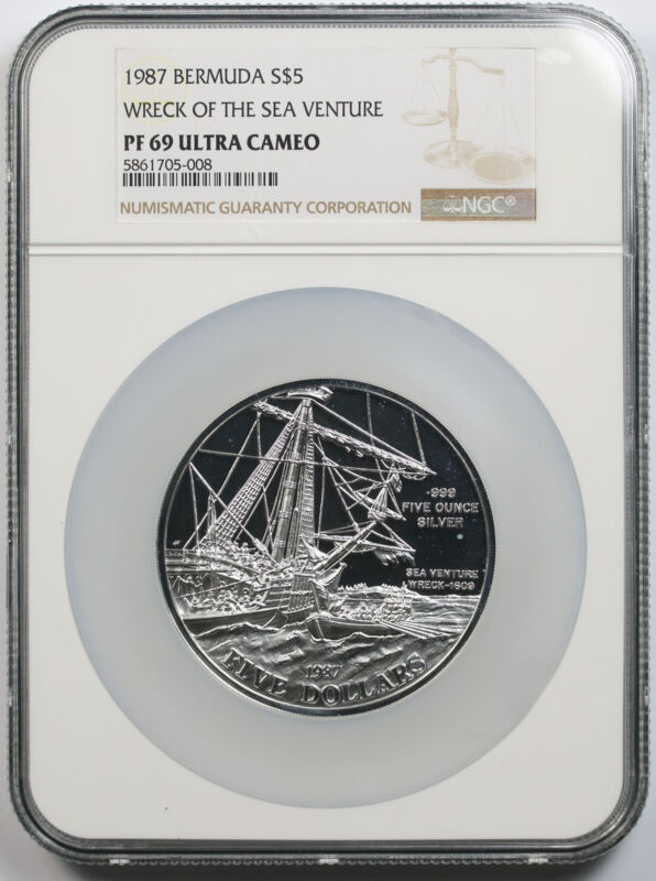 1987 Bermuda Wreck of the Sea Venture Silver 5 oz $5 Proof PF 69 Ultra Cameo NGC