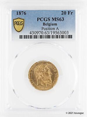 1876 Belgium Position A 20 Francs PCGS MS63 - Population of 31