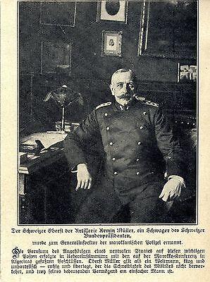 Oberst Armin Müller *Schweizer zum Chef  d. marokanischen Polizei ernannt * 1907