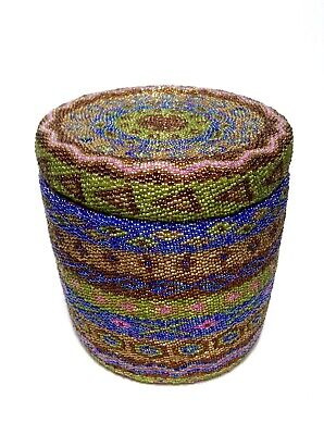 Glass Beaded Canister Handmade Decor Blue Woven Basket Tribal Stripes w/ Lid EUC