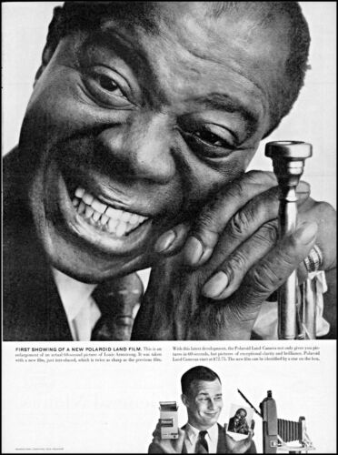 1958 Louis Armstrong trumpet Polaroid Land Camera vintage photo print ad adl77