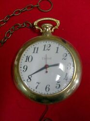 Vintage   United  Electric Pocket Watch  Clock  With Chain
