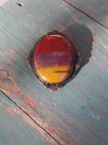 Vintage Sterling Silver Jasper? Brick Red Mustard & Purple Stone Pin Brooch