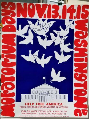 1969 Vintage Vietnam War Protest March Poster Moratorium Days DC Nov 13-15