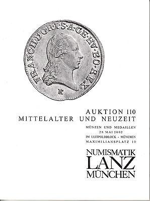 LANZ AUKTION 110 Katalog 2002 Neuzeit Mittelalter Reich Personen Münzschrank?110