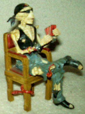 "Crypt Poker Skeleton Biker Figurine ""Dead Man's Hand"" Hamilton Collection on Rummage"