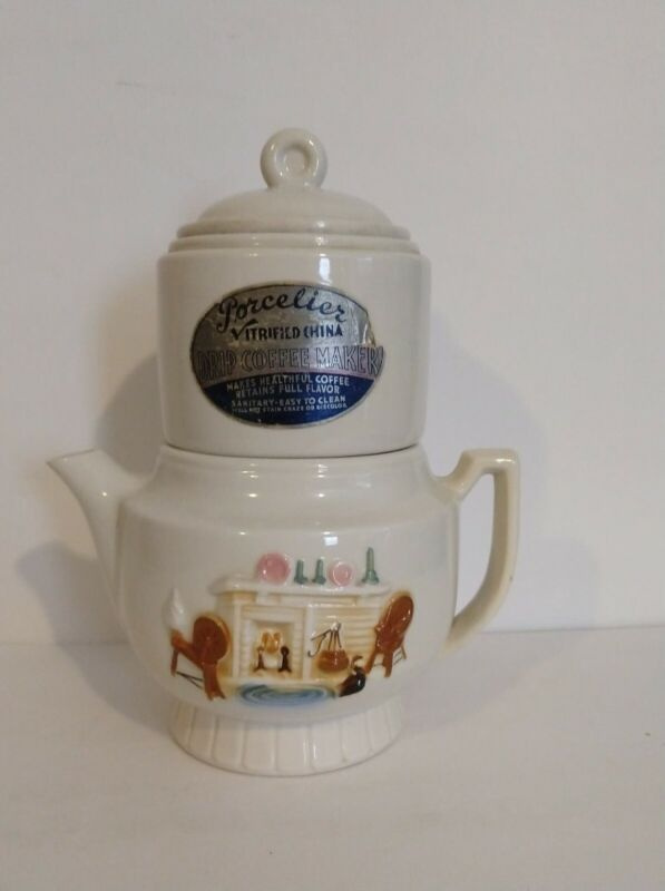 4 Pc Vintage Porcelier Vitrified China Drip Coffee Pot Maker