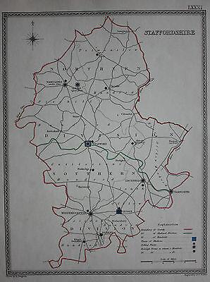 Original antique map STAFFORDSHIRE POLITICAL Samuel Lewis, J&C Walker, c.1835