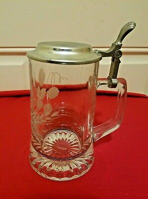 Vintage Glass/Pewter 95% Zinn Beer Stien by Domex with A Wheat Etched On side