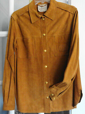 AUTHENTIC VINTAGE G. GUCCI Genuine Leather Shirt Style Jacket Sz 46-Preowned