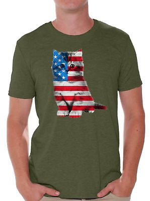 USA Flag Cat Men's T shirt Tops Cute 4th of July Gift American Flag (Cute Fourth Of July Shirts)