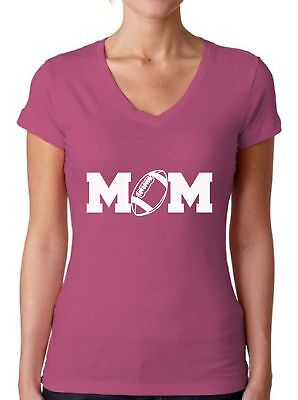 Football Mom V-NECK WOMEN T-Shirt Mothers Day Gift Best Mom Support Sport