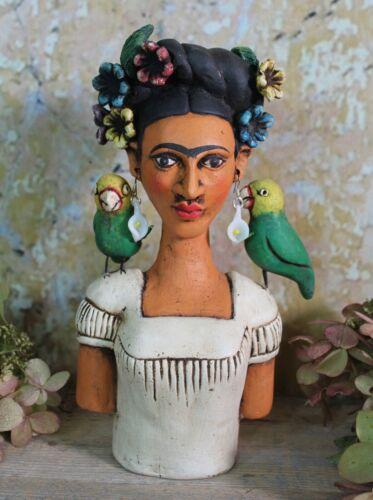 Frida Kahlo & Her Pet Parrots Clay Handmade by Rafael Pineda Mexican Folk Art