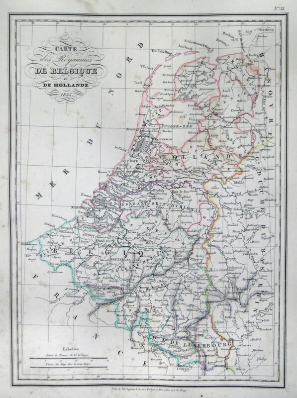 1835 Malte-Brun Map of Belgium and Holland or the Netherlands