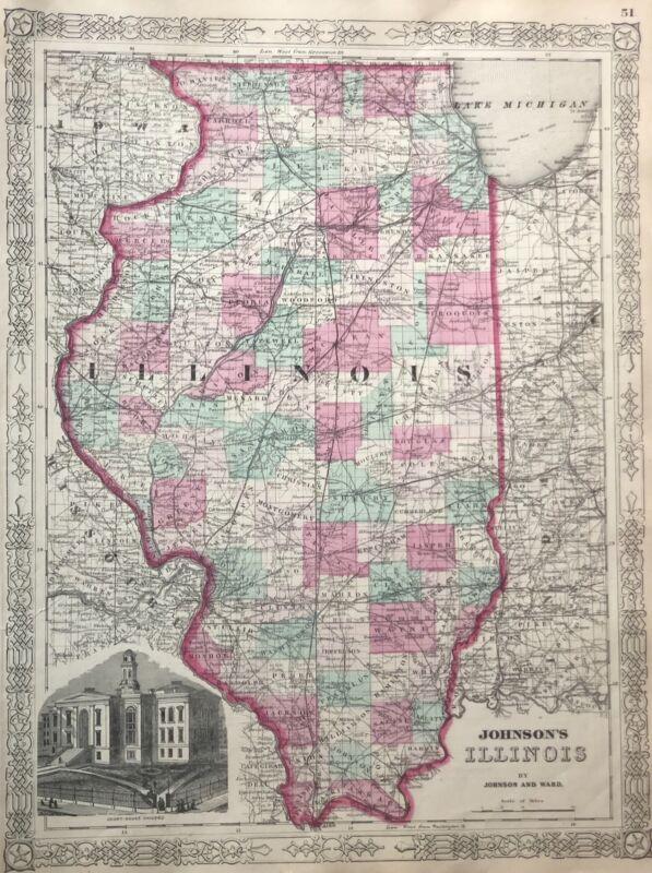 Beautiful hand colored map of Illinois by Johnson & Ward 1863