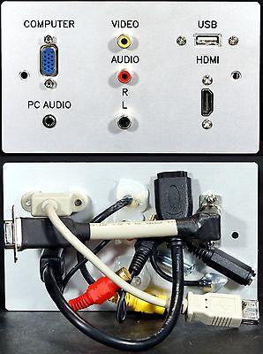 AV TV Metal Wall Plate, VGA+HDMI+Audio Jack+USB2 A & 3 Phono sockets with tails Jack Wall Plate