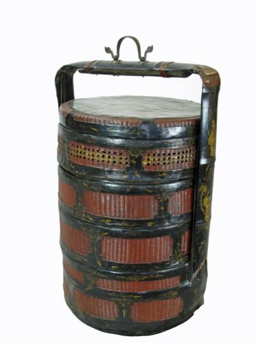Bamboo Food Basket with Hand Painted Handle