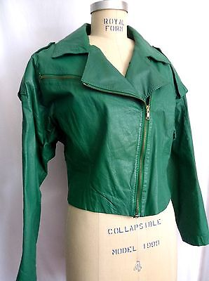 Women's 1980's AVON FASHIONS Green Leather Jacket, Mint Condition,  Size  Medium