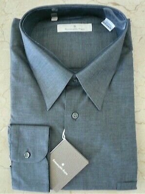 Ermenegildo Zegna Long Sleeve Button-up Cotton Dress Shirt EU45 US 17-3/4 NEW
