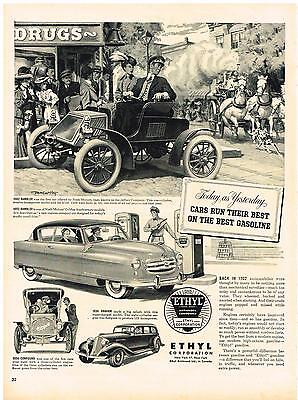 Vintage 1952 Magazine Ad Ethyl Corporation Cars Run Their Best On The Best (Best Cars On Gas)