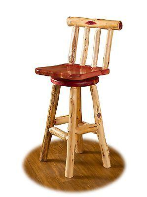 "Rustic Red Cedar Log SWIVEL BAR STOOL WITH BACK - 30"" BAR HEIGHT - Amish Made"