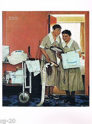 "Norman Rockwell print: ""THE WEDDING NIGHT"" newlyweds honeymooners"