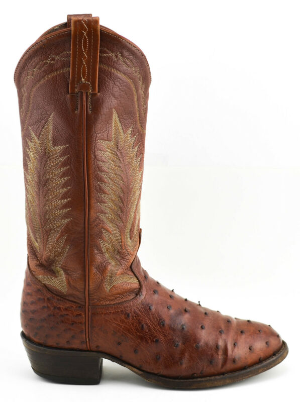 MENS, TONY, LAMA, FULL, QUILL, OSTRICH, COWBOY, BOOTS, SIZE, 7.5, D, BROWN, LEATHER, WESTERN