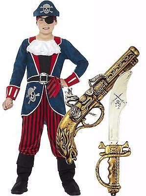 Boys Kids Childrens Deluxe Pirate Captain Hook Fancy Dress Costume Sword + Gun - Deluxe Captain Hook Costume