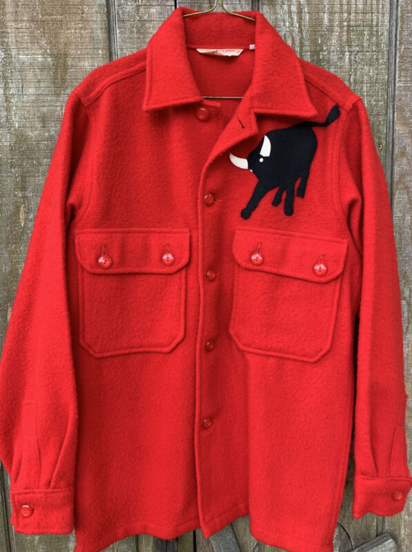 """VTG 50's-60's Boy Scouts Official """"jac-shirt"""" Red 100% Wool Jacket Philmont Bull"""