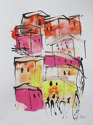 Zeichnung kl Stadt original expressiv Sonja Zeltner-Müller 32x24cm Tusche Papier