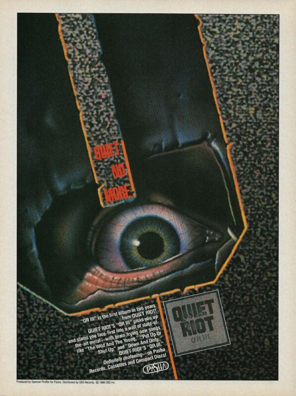 Quiet Riot QRIII 1986 8x11 Promo Poster Ad