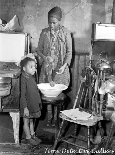 African American Mother Doing Laundry in a Wash Basin 1941 - Vintage Photo Print