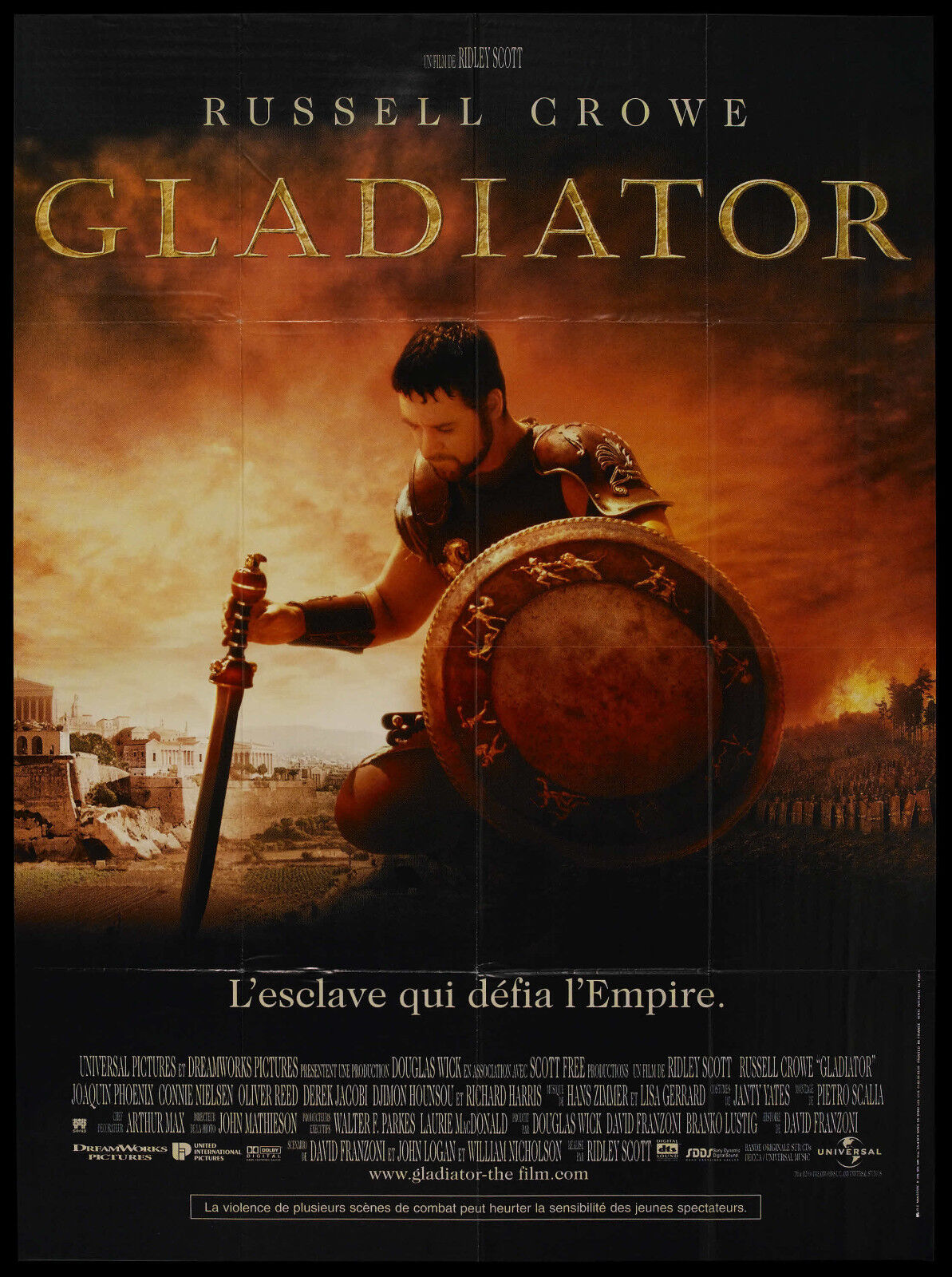 Gladiator original 2000 large movie poster russell crowe/oliver reed