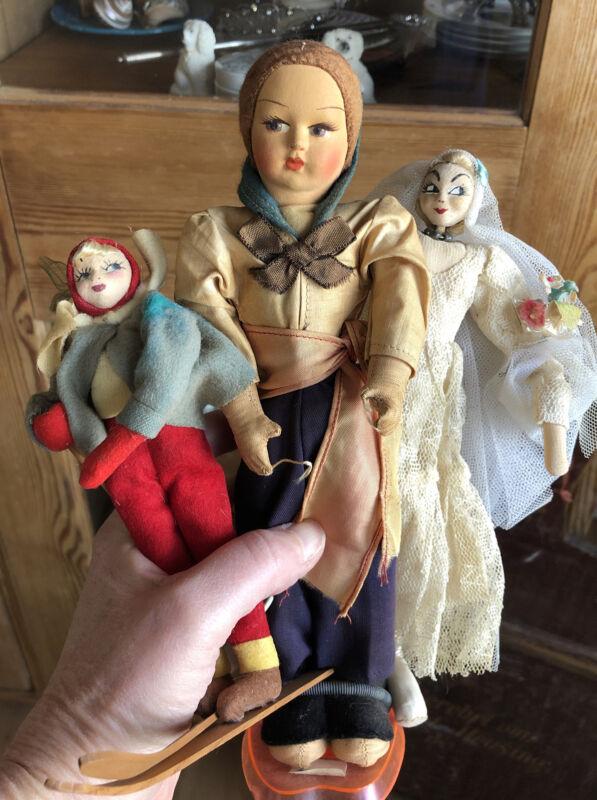 Vintage Stocking Face Dolls X 3 KLUMPE Like Bride Skier Sailor