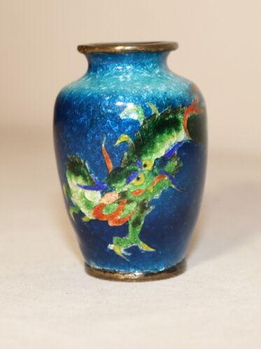 antique 1800 miniature Japanese Ginbari enamel bronze dragon guilloche foil vase