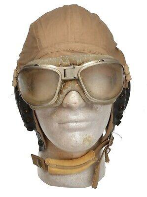 WWII US Army Air Force A-10A Khaki Summer Flight Helmet AN 6530 Goggles L
