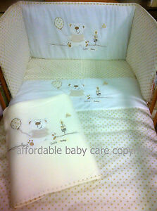 COT COT BED I Love My Bear CREAM QUILT BUMPER FLEECE BLANKET &SHEET BEDDING SET