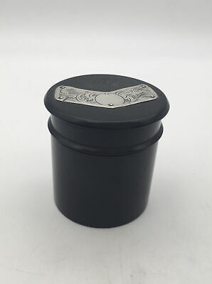 ANTIQUE EBONY POWDER POT WITH LONDON STERLING SILVER TRIM TO LID 1925