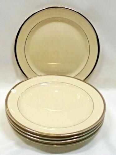 Pickard China USA Bracelet Salad Plates x5 Ivory Platinum Trim & Verge